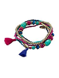 helline - Bracelet fantaisie femme en métal, perles et pierres
