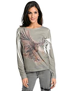 helline - T-shirt femme original à imprimé aigle et rivets