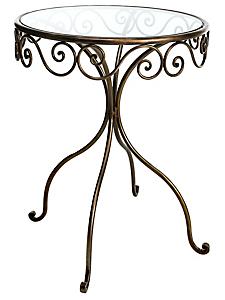 helline home - Desserte romantique en métal, avec son plateau en verre