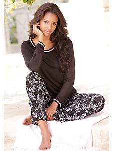Lascana - Pyjama femme, haut à bords en crochet élégant
