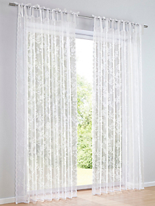 helline home - Rideaux en jacquard transparent avec motif floral
