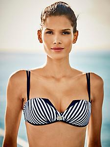 helline - Bikini femme rayé forme bandeau à bretelles doubles