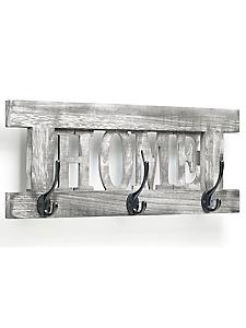 helline home - Portemanteau en bois à message avec 3 crochets doubles