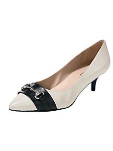 helline - Chaussures à petits talons, bout pointu en cuir coloré