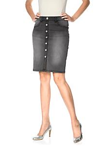 Ashley Brooke - Jupe en jean tendance à boutons, effet ventre plat