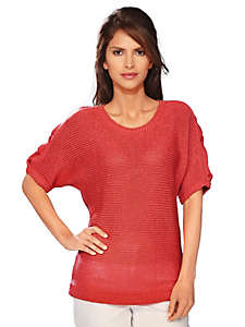 Ashley Brooke - Pull-over femme en grosse maille, coupe manches courtes