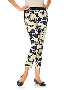 Ashley Brooke - Pantalon ventre plat imprimé fleuri élégant, coupe 7/8e