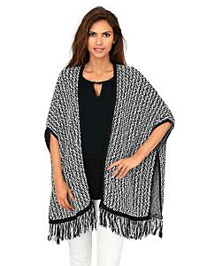 Ashley Brooke - Poncho femme à franges en tricot tendance