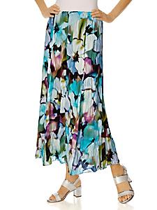 Ashley Brooke - Jupe longue et fluide à motif fleuri, aspect froissé