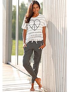 ARIZONA - Pyjama tendance femme, haut rayé à message