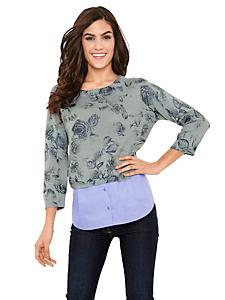 B.C. Best Connections - Pull-over à motif fleuri, empiècement chemise original