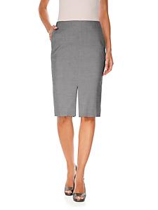 Patrizia Dini - Jupe crayon élégante gris chiné, poches et double fente