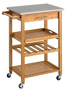 helline home - Chariot de cuisine en bois avec plateau acier