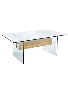 helline home - Table basse au design moderne en verre et bois massif