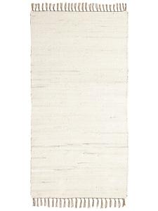 helline home - Tapis à franges tissé main en coton recyclé uni