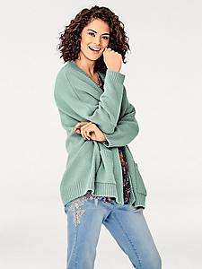 Rick Cardona - Cardigan rose ample et long en tricot épais et chaud