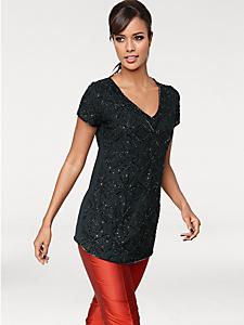 Patrizia Dini - T-shirt long élégant à paillettes et col V pour femme