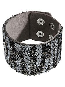 helline - Bracelet manchette à strass imitation cuir