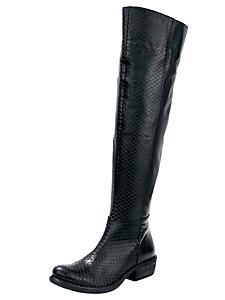 helline - Bottes en cuir aspect écailles, talons cowboy