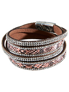 helline - Bracelet multirang en strass et motif python