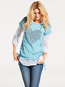 B.C. Best Connections - Ensemble t-shirt chemisier original, coeur en rivets