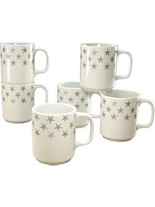 CREATABLE - Mugs CreaTable en porcelaine, 6 pièces, »étoiles«