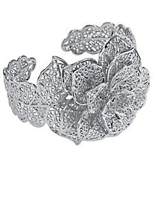 helline - Bracelet manchette en métal à motif fleuri