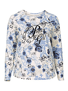 Sheego Casual - Sweat-shirt avec imprimé floqué velouté Sheego Casual