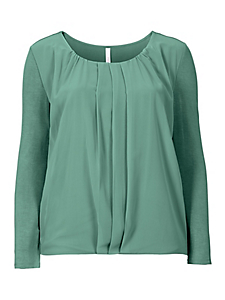 Sheego Style - T-shirt à manches longues avec voile Sheego Style