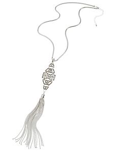 helline - Sautoir métal et verre avec pendentif pompon