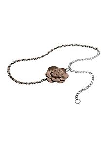 helline - Ceinture chaînette avec fleur en cuir