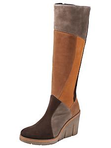 helline - Bottes à talons compensés en cuir velours