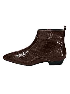 helline - Bottines en cuir avec marquage croco brillant