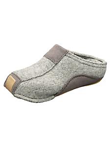 Haflinger - Pantoufles ouvertes chaudes en laine et cuir
