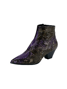 helline - Bottines en cuir brillant aspect serpent