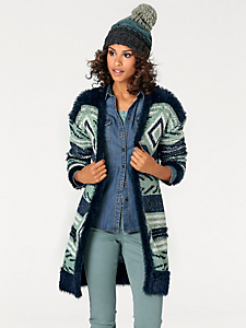 B.C. Best Connections - Gilet long et chaud en tricot motif jacquard