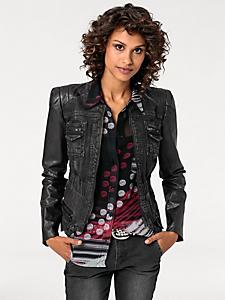 B.C. Best Connections - Veste courte en jean originale, manches en simili cuir
