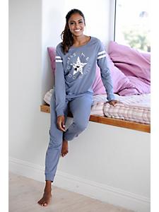 Buffalo - Pyjama confort femme, motif étoile et message
