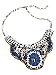 helline - Collier plastron en perles et pierres chics