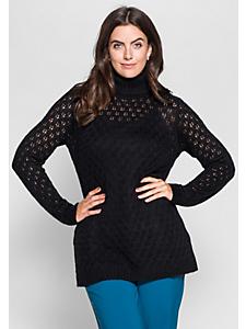 Sheego Style - Pull-over à col roulé en tricot, motif ajouré
