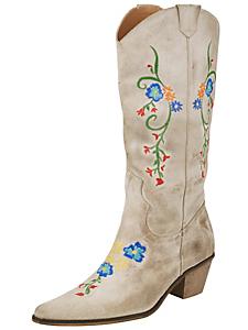 Andrea Conti - Bottes santiag cuir velours brodées à fleurs