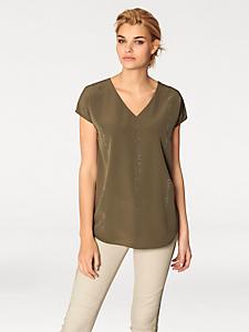 Rick Cardona - T-shirt long et fluide à col V orné de strass
