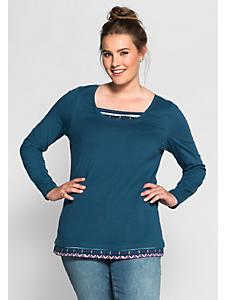 Sheego Casual - SHEEGO CASUAL shirt met lange mouwen in 2-in-1-look
