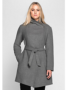 Sheego Style - Manteau court sheego Style à la coupe asymétrique