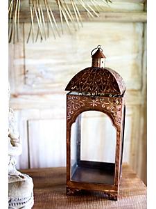 helline home - Lanterne photophore en verre et métal décoré