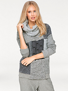 B.C. Best Connections - Pull-over en tricot patchwork, col amovible