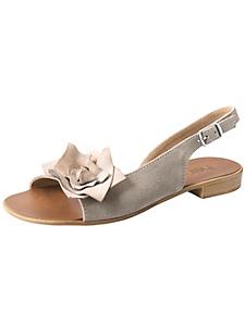 helline - Sandalettes à brides en cuir velours orné d'une fleur
