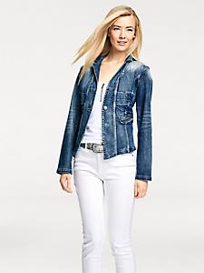 B.C. Best Connections - Veste en jean effet usé femme, coupe courte avec strass