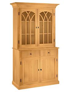 helline home - Buffet haut classique à portes vitrées et tiroirs
