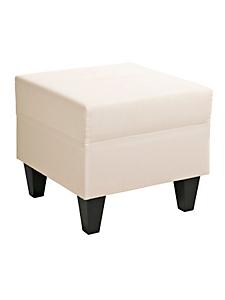 helline home - Pouf carré en tissu avec pieds en bois
